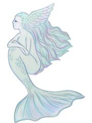 頭部に羽根のある淡色の人魚