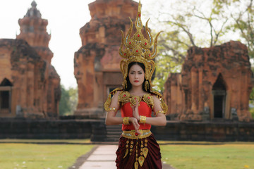 Portrait of Beautiful Thai lady  in  Ap sara series, Apsara (also spelled as Apsarasa) is a female spirit of the clouds and waters in Hindu and Buddhist mythology