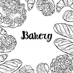 Bakery. Bakery products. Bun, bread, croissant, cookies, cake, berry pie. Lettering. Frame background.