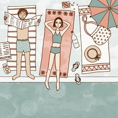 Hand drawn illustration of a couple at the swimming pool, top view