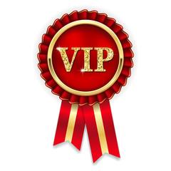 Goldene VIP Rosette mit roter Scherpe