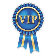 Goldene VIP Rosette mit blauer Scherpe