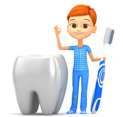 3D illustration. The boy with a toothbrush and large tooth on a