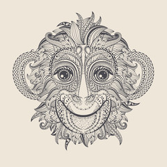 Tattoo design head of the monkey.