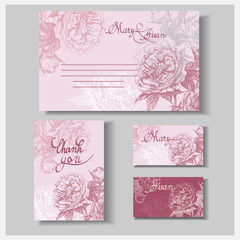 Wedding invitation Card set with wild rose (thank you card, Boarding Pass, Wedding Invitation.) Template Vector.