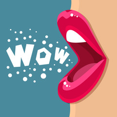 Open mouth and WOW Message