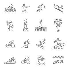 Outline icons for extreme sports. Line character set for action sports. Figures athletes of adventurous sports. Line symbol for extreme sports.