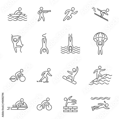 Outline icons for extreme sports  Line character set for