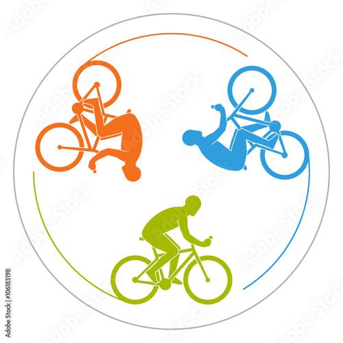 Circular Logo Cycling Vector Symbol For Cycling Club Colorful Icon