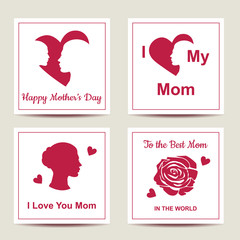 Set of cards with text for Happy Mothers Day. Collection of greeting cards in vector format