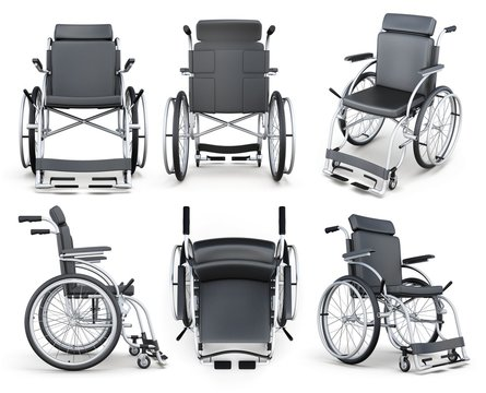 Set of wheelchair isolated on white background. 3d rendering.
