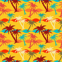 Summer seamless pattern with palm trees