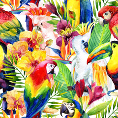 watercolor parrots with tropical flowers seamless pattern