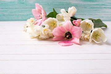Spring white and pink  tulips and narcissust on white painted wo
