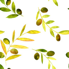 vector watercolor seamless pattern with olives, leaves and branches
