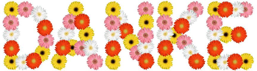 Danke bedanken aus Blumen Blume Natur Freisteller auf weiss