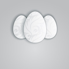 Three Easter eggs. Vector illustration for greeting card in gray tones.