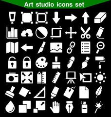 Art studio icon set