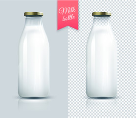 Traditional glass milk bottle. Bottle of milk isolated.