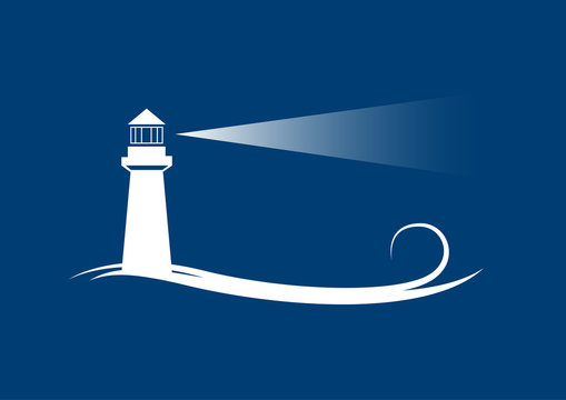 Vector banner lighthouse in blue background