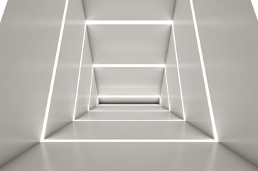 Abstract digital 3d white and light blue with empty illuminated white shining bent corridor interior - 3d render