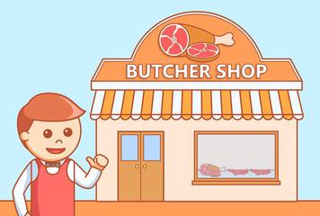 Butcher shop  doodle illustration
