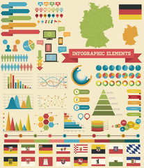 Infographic Elements - Germany Theme. Including German Province Flags