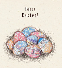 Happy Easter greeting card. Colorful ethnic eggs in bird nest.