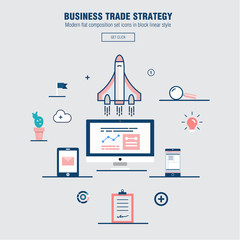 Modern block line flat business trade strategy with information and mobile technologies graph icons and computers industry