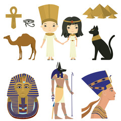 Symbols of Egyptian culture. Egypt. Vector set