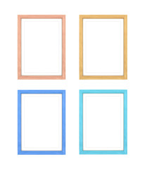 Collection of multi-colored frames, isolated on white background