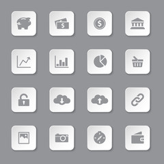 gray flat finance and technology icon set on rounded rectangle button for web design, user interface (UI), infographic and mobile application (apps)