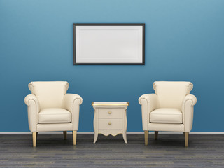 Two chairs and a table near the blue wall