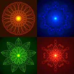 Set of Vector Geometric Bright Glow Mandala
