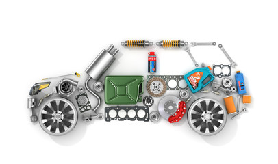 Auto parts in form of car . To use in the advertising of spare p