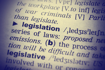 Dictionary definition of the word Legislation in English. Vignetting effect.