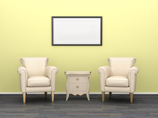 Two armchairs with bedside table on a background of yellow wall