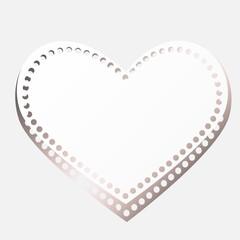 Heart on paper background.  Heart frame. Vector illustration