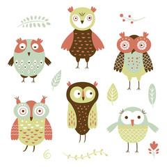 owls, flat style vector illustration