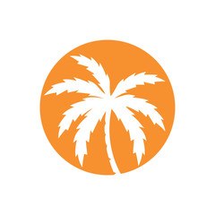 Palm Tree Icon Logo Vector Isolated White