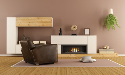 Modern living room with decorative fireplace