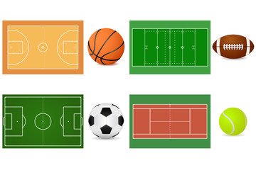 Sport grounds for soccer, football, basketball and tennis. With balls