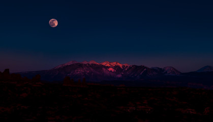 Full Moon Rising above La Sal Mountains Arches National Park