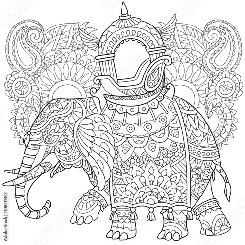 zentangle stylized cartoon elephant with paisley and mehndi symbols