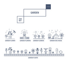 Modern thin line garden isolated flower icon set