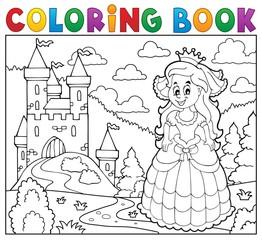 Coloring book happy princess near castle