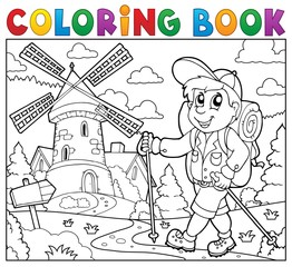 Coloring book hiker near windmill