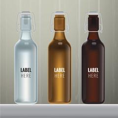 Vector blank glass bottles