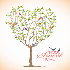 Home sweet Home - Bird and Heart tree vector design