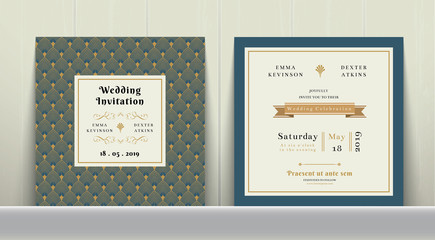 Art Deco Wedding Invitation Card in Gold and Blue